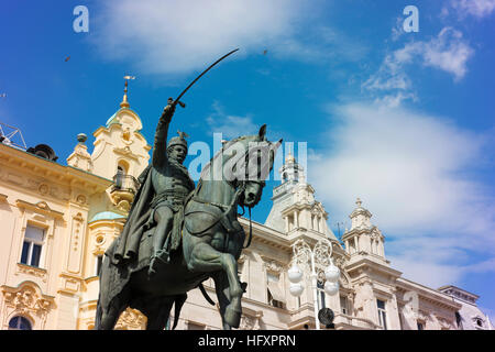 Ban Jelacic Square in central Zagreb with a statue of ban Josip Jelacic astride his horse. - Stock Photo
