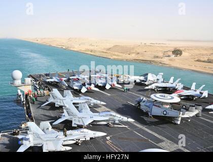 110215-N-0074G-125 SUEZ CANAL, Egypt (Feb. 15, 2011) The aircraft carrier USS Enterprise (CVN 65) transits the Suez - Stock Photo