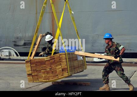 100224-N-1441M-205 GUANTANAMO BAY, Cuba (Feb. 24, 2010) Sailors assigned to Navy Reserve Naval Cargo Handling Battalion - Stock Photo