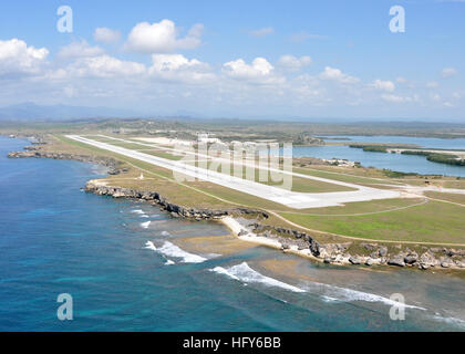 100506-N-8241M-317 GUANTANAMO BAY, Cuba (May 6, 2010) An aerial view of the Leeward Airfield at Naval Station Guantanamo - Stock Photo