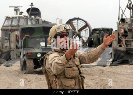 100603-M-4878R-091 CAMP PENDLETON, Calif. (June 3, 2010) A Sailor assigned to Beach Master Unit (BMU) 1 directs - Stock Photo