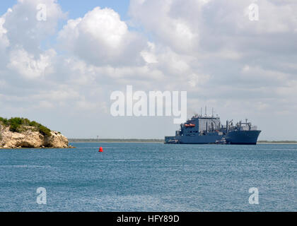 The Military Sealift Command dry cargo and ammunition ship USNS Wally Schirra pulls into port at Naval Station Guantanamo - Stock Photo