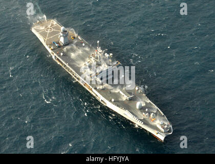The amphibious command ship USS Mount Whitney (LCC/JCC 20) test of the ship's salt water countermeasure wash down - Stock Photo