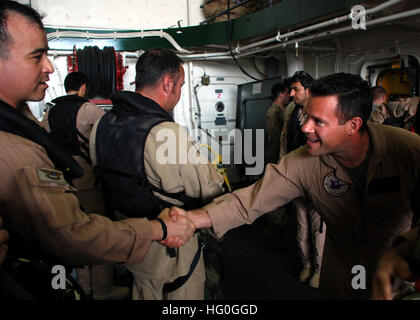 130129-N-BB534-243 U.S. 5TH FLEET AREA OF RESPONSIBILITY (Jan. 29, 2013) U.S. Marine Capt. John Lewis, right, greets - Stock Photo