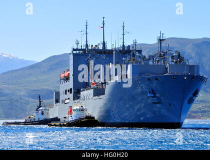 130312-N-MO201-002 SOUDA BAY, Greece (March 12, 2013)  The Military Sealift Command dry cargo and ammunition ship - Stock Photo