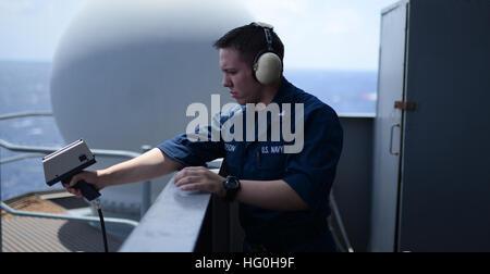 130426-N-YZ751-044 ATLANTIC OCEAN (April 26, 2013) Aerographer's Mate 3rd Class Korey Jepson, from Las Vegas, takes - Stock Photo