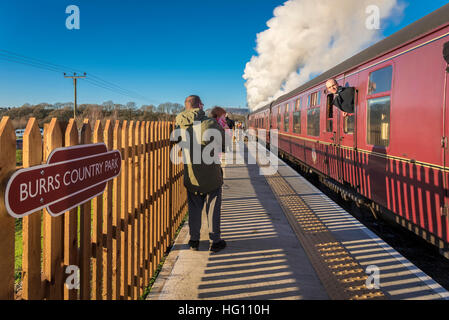 Bury. England  02 January 2017.  The steam engine Lancashire Fusilier pictured at the new East Lancashire Railway - Stock Photo