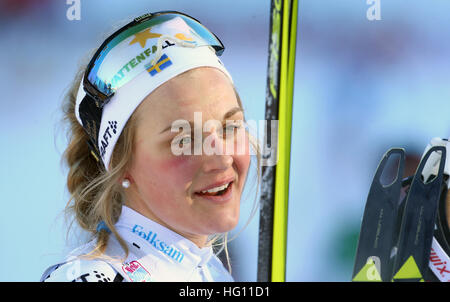 Oberstdorf, Germany. 03rd Jan, 2017. Swede Stina Nilssonb at the FSI Tour de Ski competition in Oberstdorf, Germany, - Stock Photo