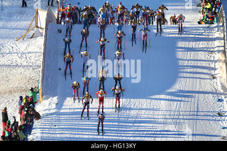 Oberstdorf, Germany. 03rd Jan, 2017. Cross-country skiers at the start of the FSI Tour de Ski competition in Oberstdorf, - Stock Photo