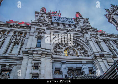 Madrid, Spain. 3rd January, 2017. every building of the city council in Madrid operates 100% in 2017 with renewable - Stock Photo