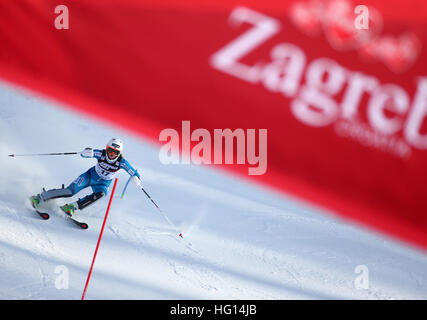 Zagreb, Croatia. 3rd Jan, 2017. Maren Skjoeld of Norway competes during the FIS Alpine Ski World Cup Snow Queen - Stock Photo