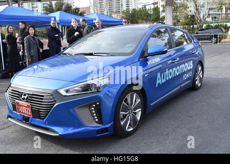Las Vegas, Nevada, USA, 3rd January, 2017.  Hyundai showcases its Ioniq autonomous hybrid car concept as it navigates - Stock Photo