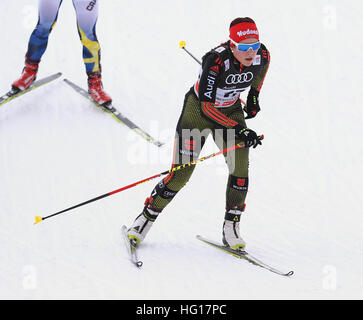 Oberstdorf, Germany. 04th Jan, 2017. Katharina Hennig of Germany skis in the women's pursuit race during the FIS - Stock Photo