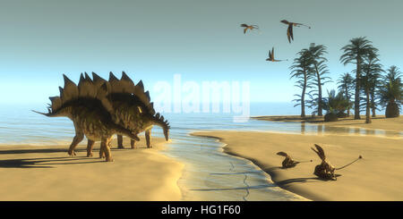 Dimorphodon carnivorous reptiles fly over two Stegosaurus dinosaurs coming down to a steam to drink. - Stock Photo