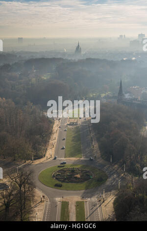 Atomium view over Brussels over Boulevard du Centenaire and place Louis Steens towards the Notre Dame, Belgium - Stock Photo