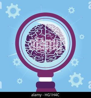 Brain research / Mind diagnosis. Brain on blue background - Stock Photo