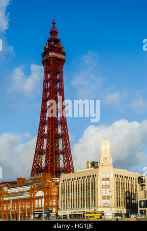 Blackpool Tower, Blackpool, Lancashire on a sunny December day. - Stock Photo