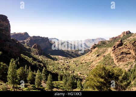 Sceneric views around Roque Nublo, a volcanic mountain in Gran Canaria. - Stock Photo