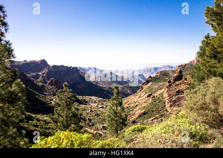 Beautiful views around Roque Nublo, a volcanic mountain in Gran Canaria. - Stock Photo