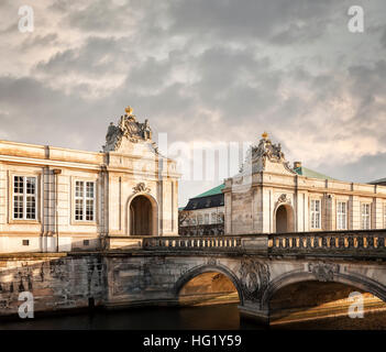 Image of the grand entrance to the castle of Christiansborg in Copenhagen, Denmark. - Stock Photo