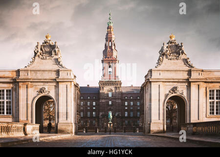 Image of the grand entry to Christiansborg castle in Copenhagen, Denmark. - Stock Photo