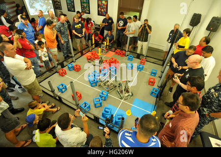 A crowd watches a robotics competition sponsored by U.S. Pacific Fleet and the Office of Naval Research which included - Stock Photo