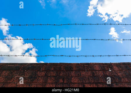 Looking up sky through barbed wire and red brick wall - Stock Photo