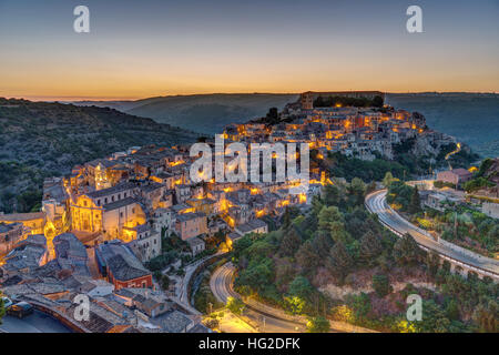 The old town of Ragusa Ibla in Sicily before sunrise - Stock Photo