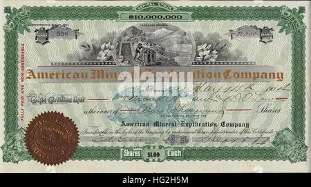 1904 American Mineral Exploration Company Stock Certificate - San Francisco, California - USA - Stock Photo