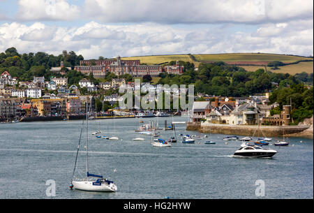 River Dart View Looking Towards Britannia Royal Naval College, and the Town, Dartmouth, Devon. - Stock Photo