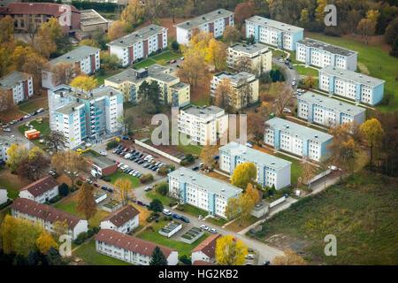 Aerial view, renovations VONOVIA skyscraper and settlement Narcissus Road, social housing, rental housing, Bochum, - Stock Photo