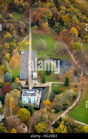 Aerial view, cube castle park Weimar in autumn, KUBUS part of the situation of art in Weitmarer Castle Park, Bochum, - Stock Photo