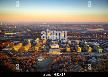 Aerial, Sunrise at RUB Ruhr University Bochum, Bochum, Ruhr aeria, north rhine-westphalia, Germany, Europe, Aerial - Stock Photo