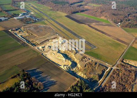 Aerial view, sand pit at the aerodrome Schwarze Heide, Kirchhellen, Bottrop, Ruhr aeria, north rhine-westphalia, - Stock Photo