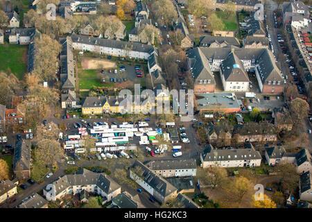 Aerial view, marketplace Johannesplatz the district Lohberg, Dinslaken, Ruhr aeria, north rhine-westphalia, Germany, - Stock Photo