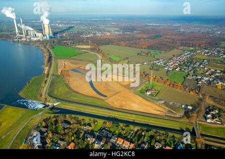 Aerial view, Emscher estuary, Rhine meadows, Dinslaken, Rhine, reconstruction of Emscher mouth, Dinslaken, Ruhr - Stock Photo