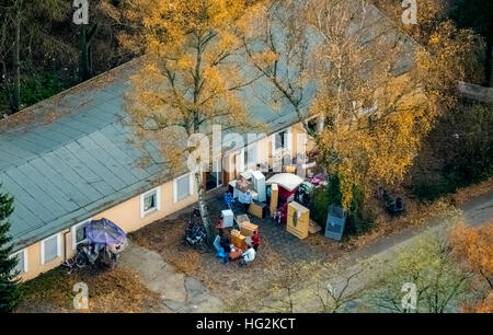 Aerial view, refugee camp of Caritas Dinslaken, furniture collection for refugees, unemployed project At the refuge - Stock Photo