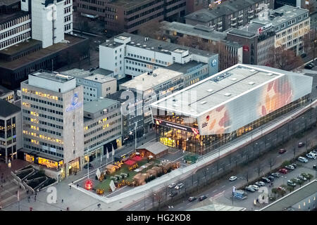 Aerial view, DFB Football Museum Dortmund at night, Football Museum, Dortmund, Ruhr aeria, north rhine-westphalia, - Stock Photo