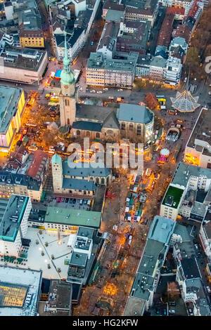 Aerial photo, Christmas market at the Reinoldi church, Ev. Parish Saint Mary, Dortmund, Ruhr aeria, north rhine - Stock Photo