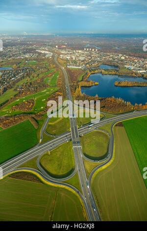 Aerial view, interchange interchange Duisburg-South, Highway 59 and federal highway B288, Duisburg, Dusseldorf, - Stock Photo