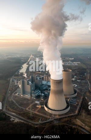 Aerial view, coal-fired power plant in Westphalia, RWE Power, a former nuclear power plant THTR Hamm Uentrop, - Stock Photo