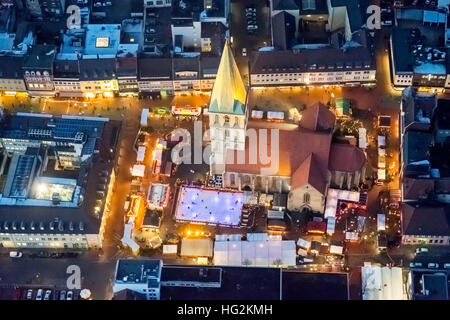 Aerial view, Christmas market at the Paulus church, Pauluskirche Hamm with Christmas Market and West Street, Hamm, - Stock Photo