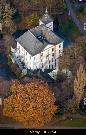 Aerial view,  water castle Wasserschloss Haus Voerde Voerde, Ruhr area, north rhine-westphalia, Ruhr aeria, - Stock Photo