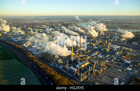 Aerial view, Chempark Dormagen, INEOS, chemical industry with smoke clouds in the morning, Emissions, morning mist, - Stock Photo