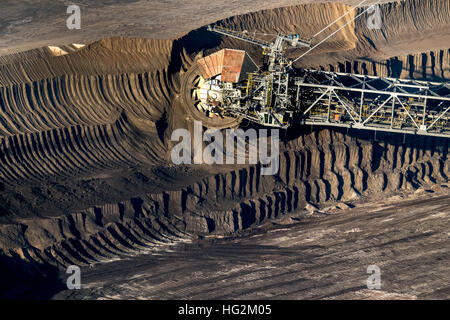 Aerial view, brown coal excavator in lignite opencast Garzweiler, excavator buckets, Erkelenz, Dormagen, rhineland, - Stock Photo