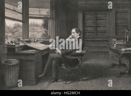 Charles Dickens in his study at Gadshill, circa 1875 - Stock Photo