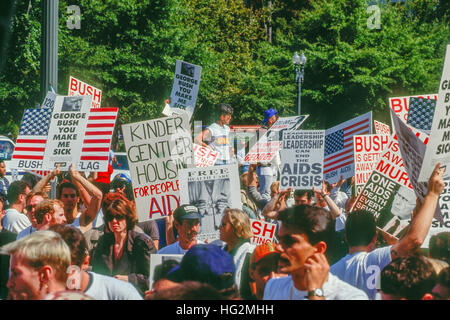 Washington, DC., USA, 30th September, 1991 Protesters from the group 'ACT UP' block the entrance to the Northwest - Stock Photo