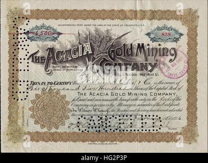 1896 Acacia Gold Mining Company Stock Certificate - Burns and Morning Star Mines - Cripple Creek, Colorado - USA - Stock Photo