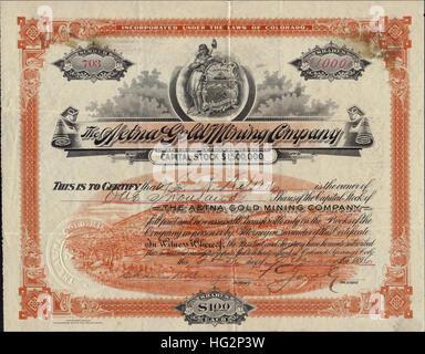 1896 Aetna Gold Mining Company Stock Certificate - Cripple Creek District, Colorado - USA - Stock Photo