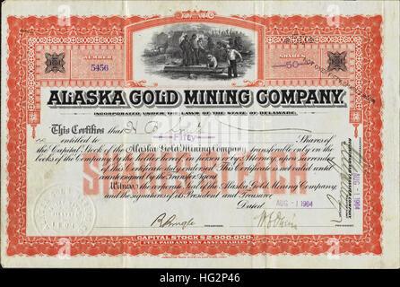 1904 Alaska Gold Mining Company Stock Certificate - USA - Stock Photo